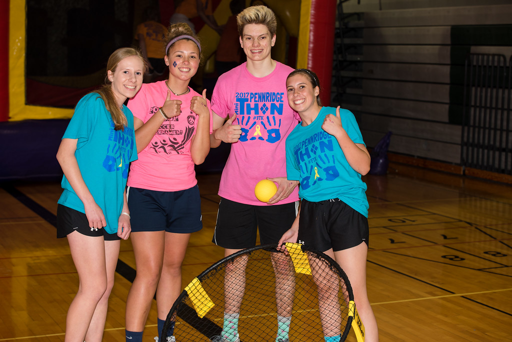 . Kate Ziegler, Caroline McFadden, Ethan Lionetti and Nicole Leight attend Pennridge High School�s Mini-THON Saturday, May 13.  Jeff Davis � For Digital First Media