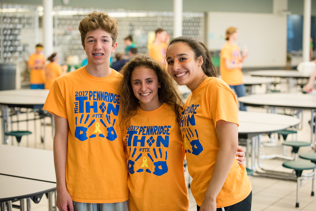 . Vincent Sordini, Skyla Dingaro and Aly Mayers attend Pennridge High School�s Mini-THON Saturday, May 13.  Jeff Davis � For Digital First Media