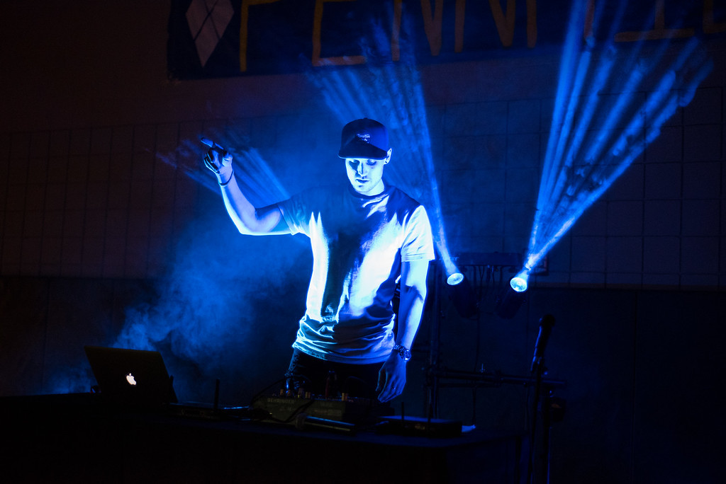 . The DJ, Josh Bahl, keeps the dancing going during Pennridge High School�s Mini-THON Saturday, May 13.  Jeff Davis � For Digital First Media