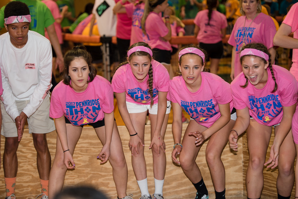 . Lauren Schuler, Sierra Schaeffer, Hannah Portagez, Andersen Dimon and Kayla Richards stay entertained playing gaga at Pennridge High School�s Mini-THON Saturday, May 13.  Jeff Davis � For Digital First Media