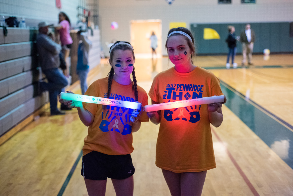 . Ava Gendek and Ashley Miller came to support the four diamonds for childhood cancer during their dance thon at the Pennridge high school Saturday night 5/13/2014.  Jeff Davis � For Digital First Media