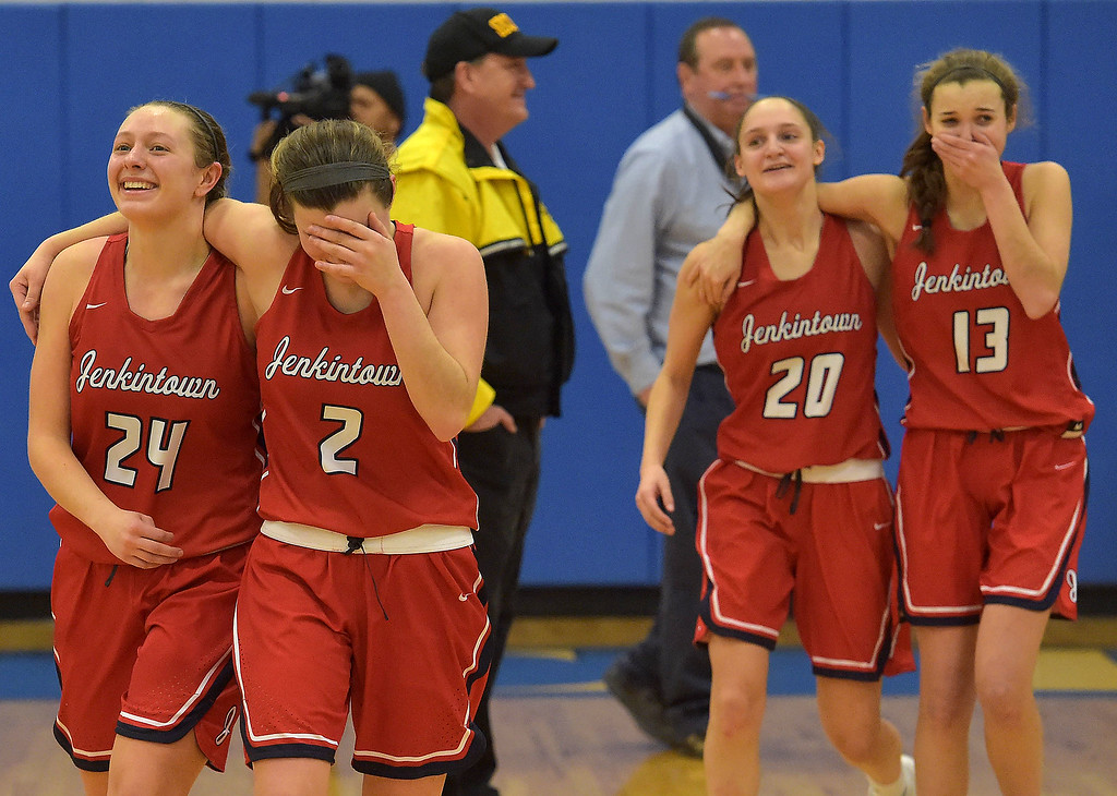 . PETE  BANNAN-DIGITAL FIRST MEDIA     Jenkintown players (24) Amila Mulcaney, (2) Jennifer Kemp, (20)  Natalia Kolb and (13)  Ashley Kremp react after defeating Lebanon Catholic in the PIAA semi-final game at Downingtown West High School to advance to the finals at Hershey.