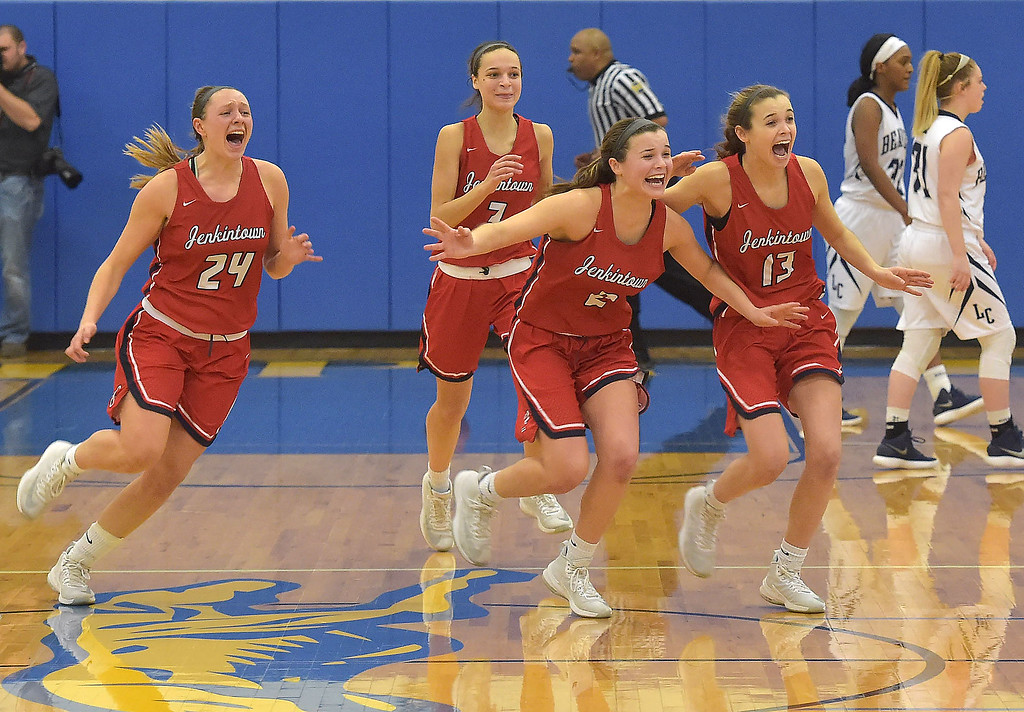 . PETE  BANNAN-DIGITAL FIRST MEDIA     Jenkintown players (24) Amila Mulvaney, (3) Min Kolb, (2) Jennifer Kemp and (13)  Ashley Kremp react after defeating Lebanon Catholic in the PIAA semi-final game at Downingtown West High School to advance to the finals at Hershey.