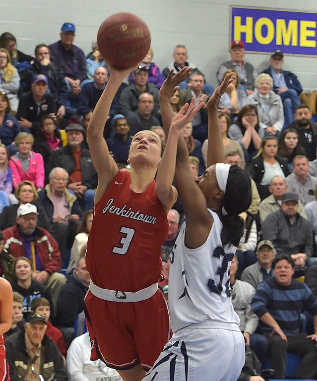 . PETE  BANNAN-DIGITAL FIRST MEDIA     Jenkintown\'s (3) Mia Kolb,puts a shot up against Lebanon Catholic in the PIAA semi-final game at Downingtown West High School.