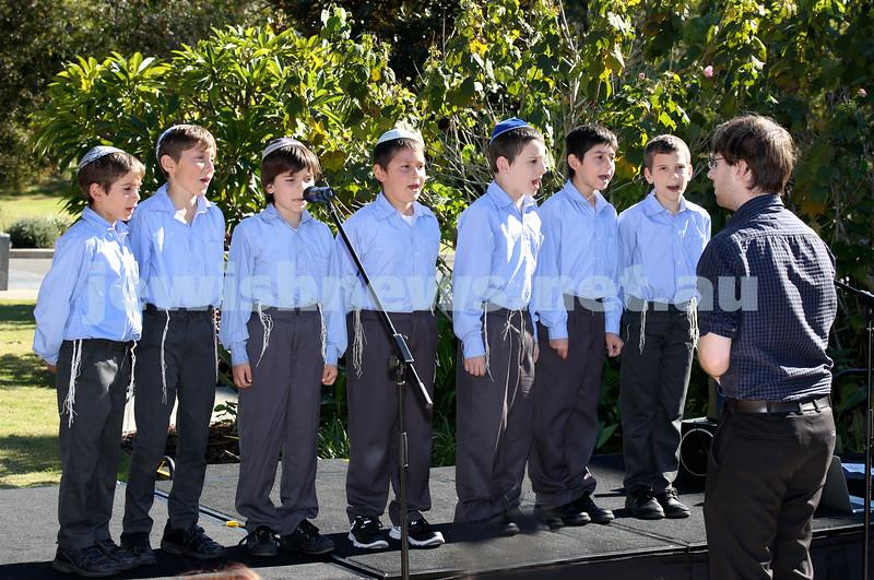 Montefiore Lag B'Omer Family Fun Day. Kesser Torah College Boys Choir perform on stage. Pic Noel Kessel.