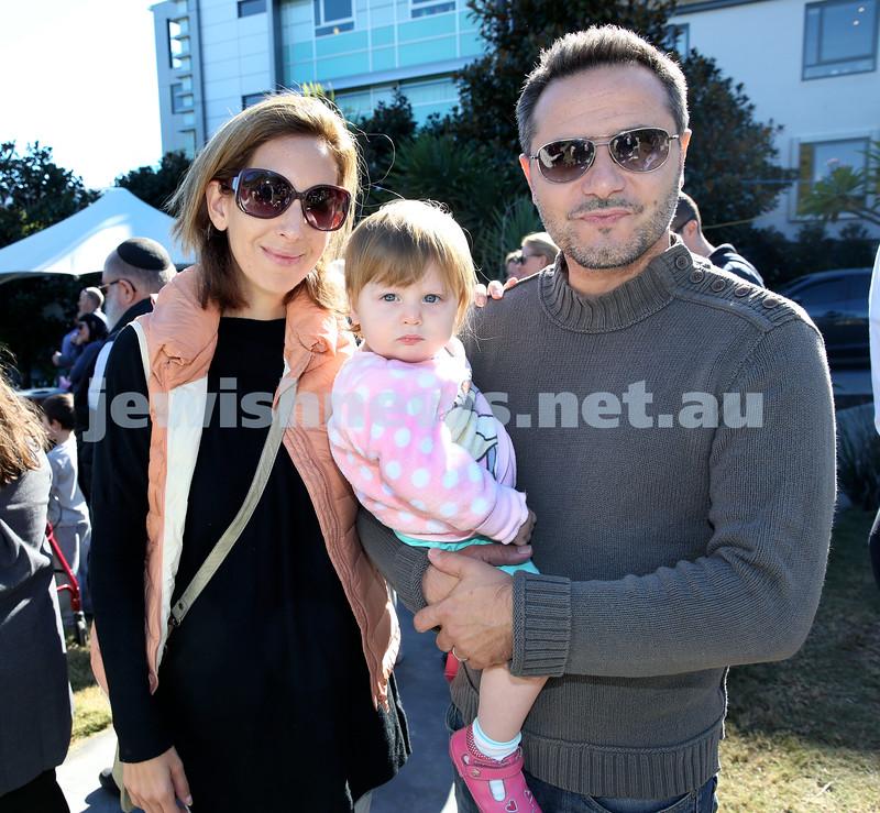 Montefiore Lag B'Omer Family Fun Day. (from left) Anna, Noa, Lior Segre. Pic Noel Kessel.