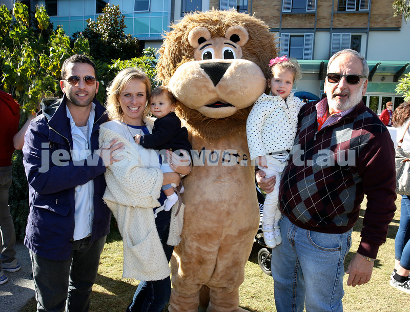 Montefiore Lag B'Omer Family Fun Day. Goldshaft family with Monte Lion - (from left) Rob, Lana, Leon, Ayla, Peter. Pic Noel Kessel.