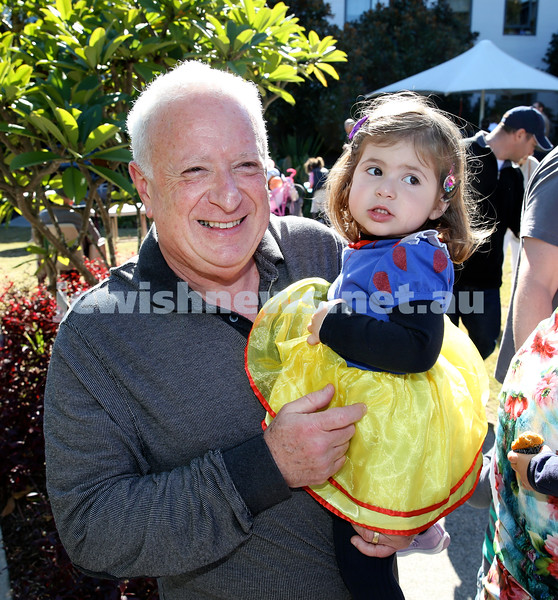 Montefiore Lag B'Omer Family Fun Day. Tony Goodman with his granddaughter Charli. Pic Noel Kessel.