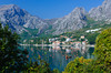 An aquaculture farm in Lake Kotor and the village of Orahovac, Montenegro.