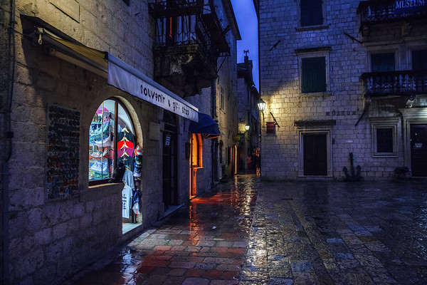Street at night in the Old Town of Kotor, Montenegro