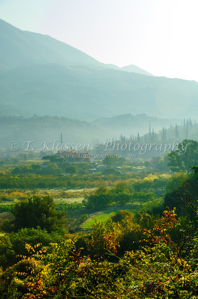 Early morning fog in the valleys of rural Montenegro.