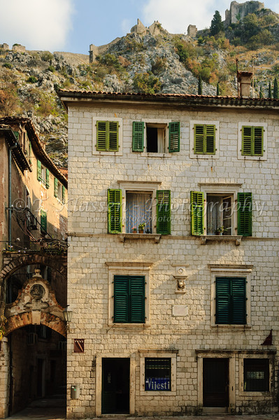 Building architecture in the medieval walled village of Kotor, Montenegro.