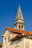 The steeple of the St. Nicholas church in Perast, Montenegro.