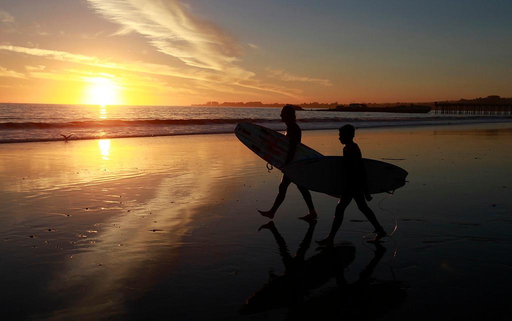 . Sunset at Seacliff State Beach in Aptos on Thursday, Nov. 17, 2016.  (Vern Fisher - Monterey Herald)
