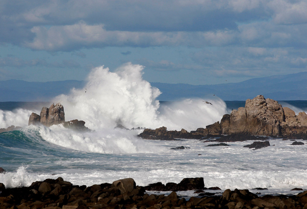 . Large waves break on Point Pinos in Pacific Grove on Tuesday, Jan. 24, 2017.  (Vern Fisher - Monterey Herald)