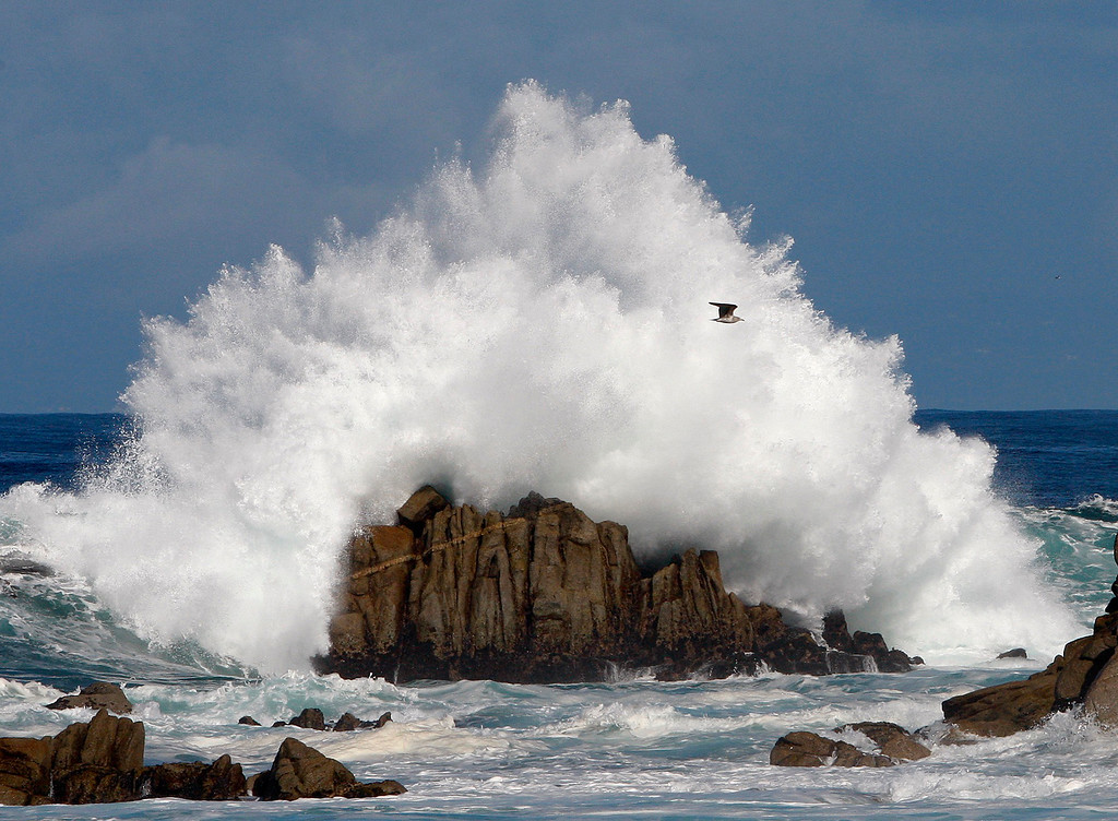 . Large surf breaks on the rocks at Point Pinos in Pacific Grove on Tuesday, Nov. 1, 2016.  (Vern Fisher - Monterey Herald)