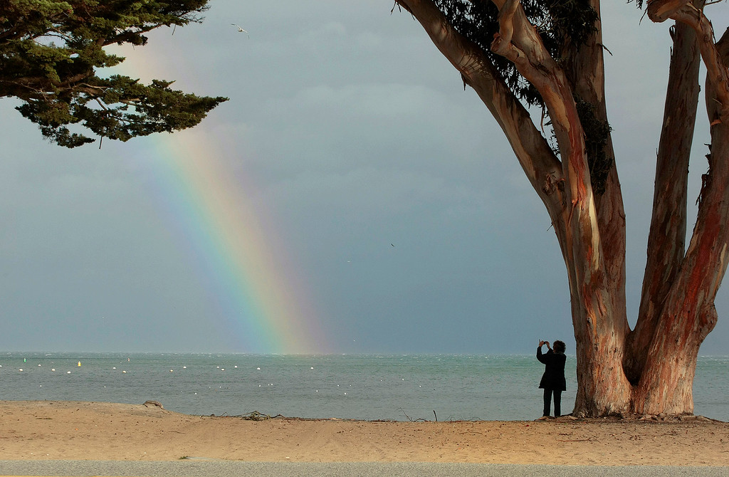 . A rainbow before the storm over Monterey on December 11, 1024. (Vern Fisher - Monterey Herald)