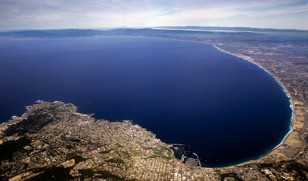 . Looking north from over Monterey on the Monterey Bay from 6,000 feet on Aug. 11, 2003.  (Vern Fisher - Monterey Herald)