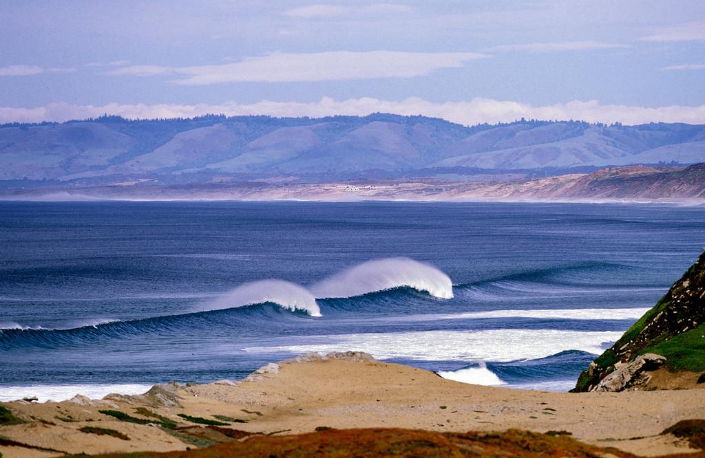 . Waves break off Sand City on April 12, 2001.  (Vern Fisher - Monterey Herald)