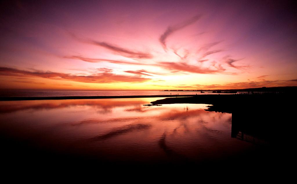 . Sunset at Rio Del Mar Beach in Aptos on Nov. 2, 2012.  (Vern Fisher - Monterey  Herald)