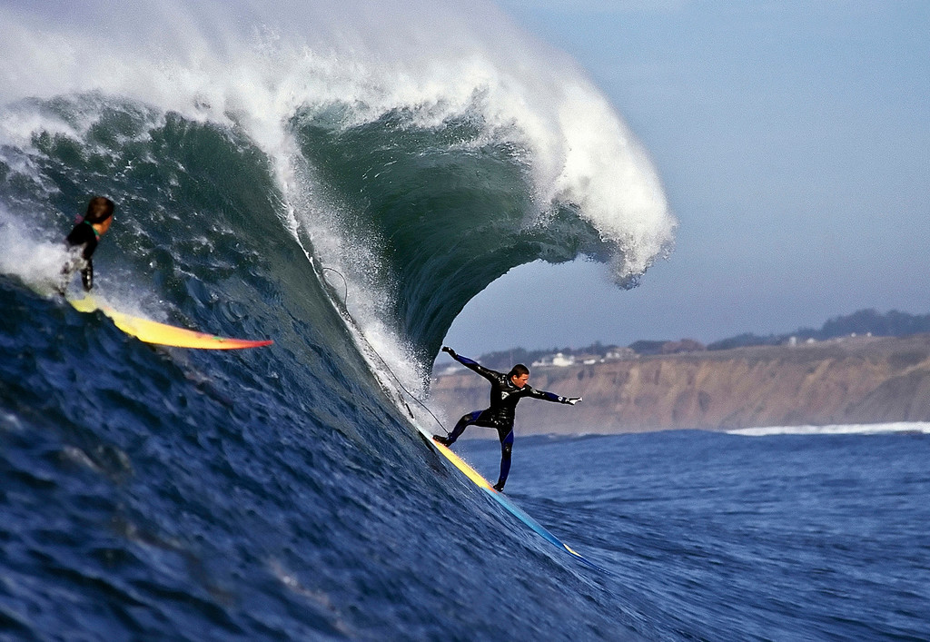 . Jay Moriarity from Santa Cruz surfs Mavericks near Half Moon Bay on Dec. 21, 1994.   (Vern Fisher - Monterey Herald)