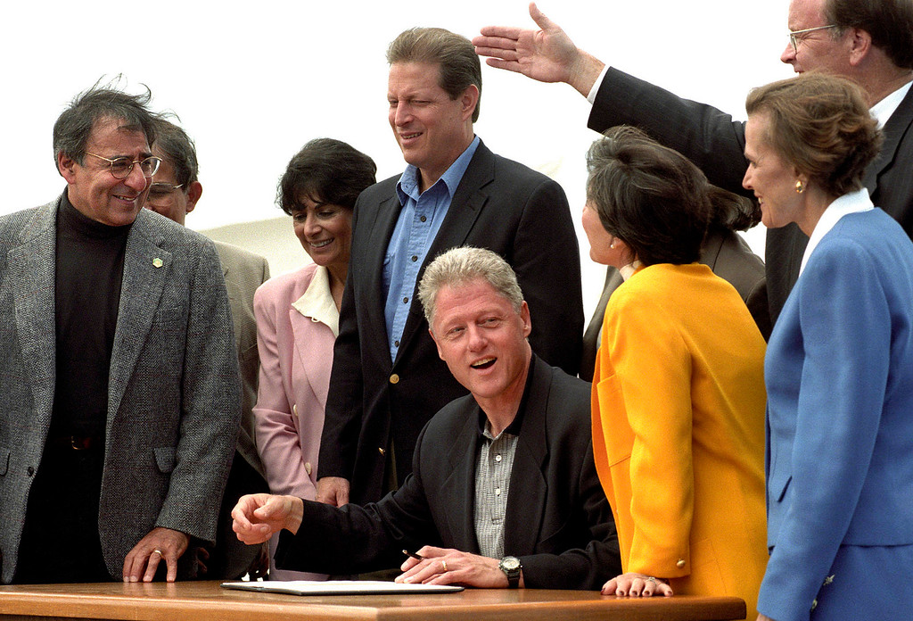 . Leon Panetta, Vice President Al Gore, President Bill Clinton, Senator Barbara Boxer, Oceanographer Sylvia Earle and Sam Farr at the World Ocean Conference in Monterey on June 12, 1998. (Vern Fisher - Monterey Herald)