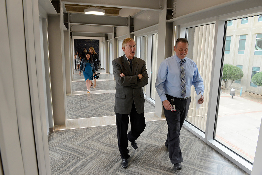 . Dean Flippo, Monterey County District Attorney tours the newly refurbished Monterey County Courthouse with Dewayne Woods on Tuesday, August 7, 2018.  (Vern Fisher - Monterey Herald)