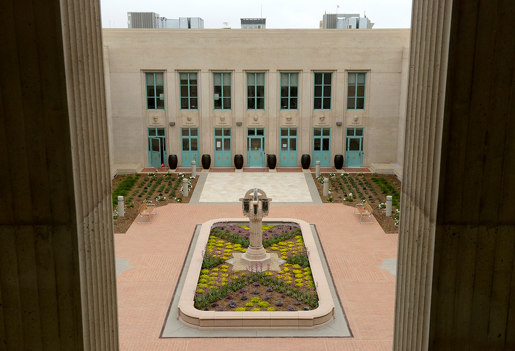 . The center courtyard garden area at the newly refurbished Monterey County Courthouse on Tuesday, August 7, 2018.  (Vern Fisher - Monterey Herald)
