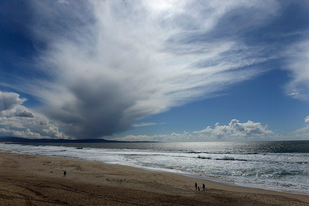 . Clearing weather at Marina State Beach on Monday, April 16, 2018.  (Vern Fisher - Monterey Herald)
