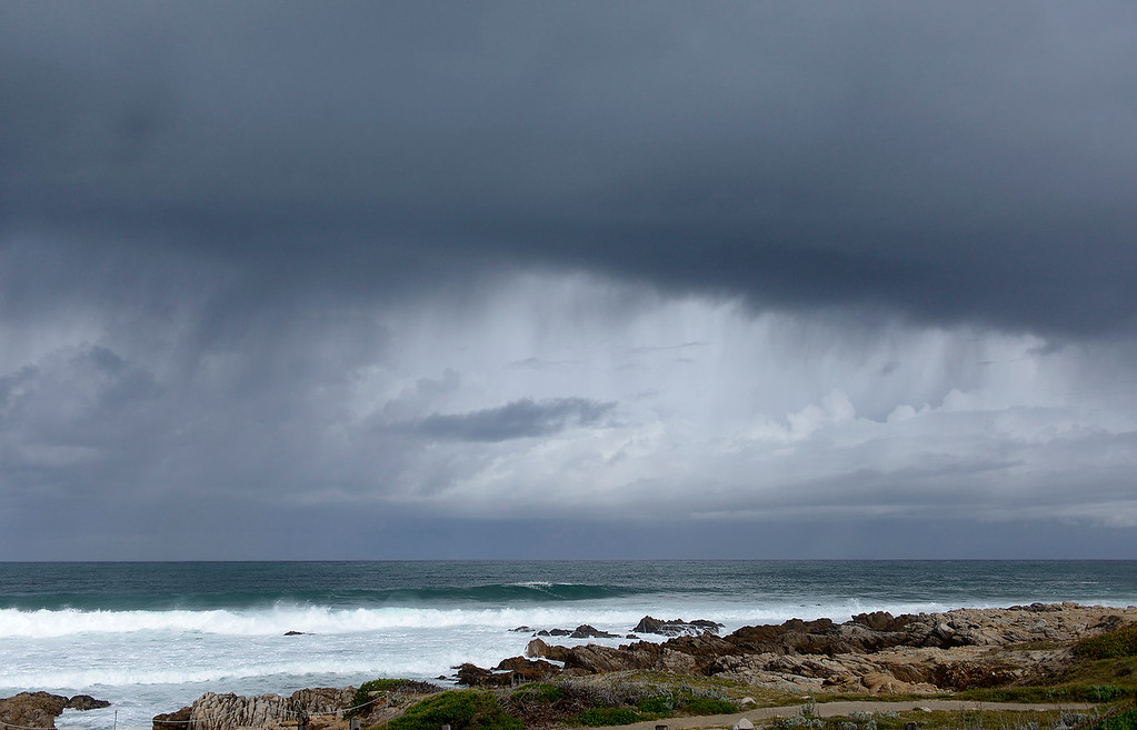 . Rain showers with some hail near Point Pinos in Pacific Grove on Monday, April 16, 2018.  (Vern Fisher - Monterey Herald)
