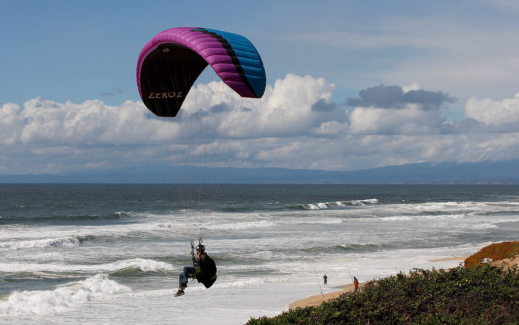 . Windy conditions at Marina State Beach on Monday, April 16, 2018.  (Vern Fisher - Monterey Herald)