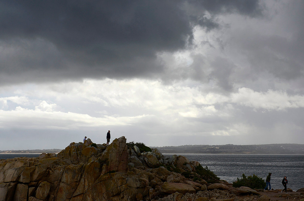 . Rain showers with some hail at Lovers Point Park in Pacific Grove on Monday, April 16, 2018.  (Vern Fisher - Monterey Herald)