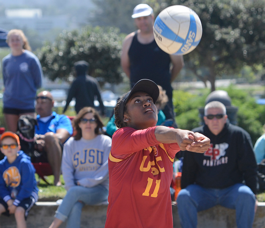 . USC\'s Joy Dennis digs against San Jose State during her match during the second annual Monterey College Invitational beach volleyball tournament at Window on the Bay Park in Monterey on Sunday April 2, 2017. (David Royal - Monterey Herald)