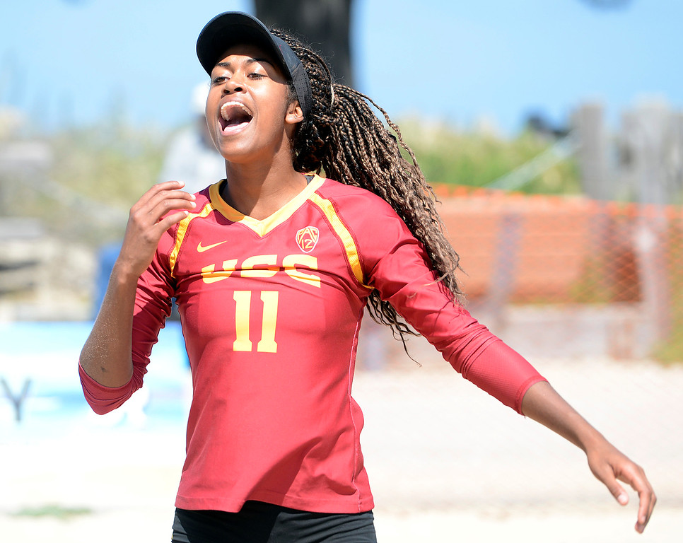 . USC\'s Joy Dennis celebrates a point against San Jose State during her match during the second annual Monterey College Invitational beach volleyball tournament at Window on the Bay Park in Monterey on Sunday April 2, 2017. (David Royal - Monterey Herald)