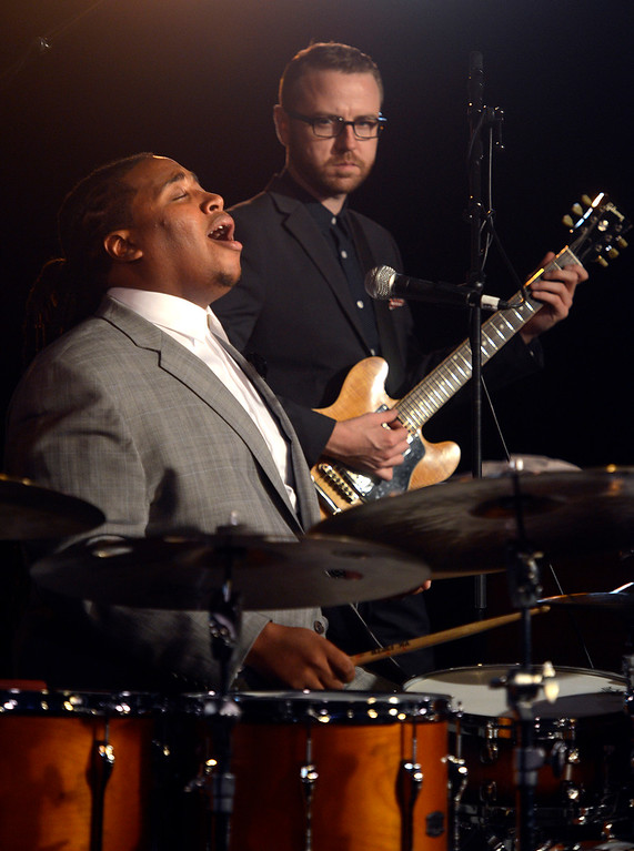 . Jamison Ross sings and drums in the Night Club with his band during the 59th annual Monterey Jazz Festival at the Monterey County Fair and Events Center in Monterey, Calif. on Friday September 16, 2016.  (David Royal - Monterey Herald)