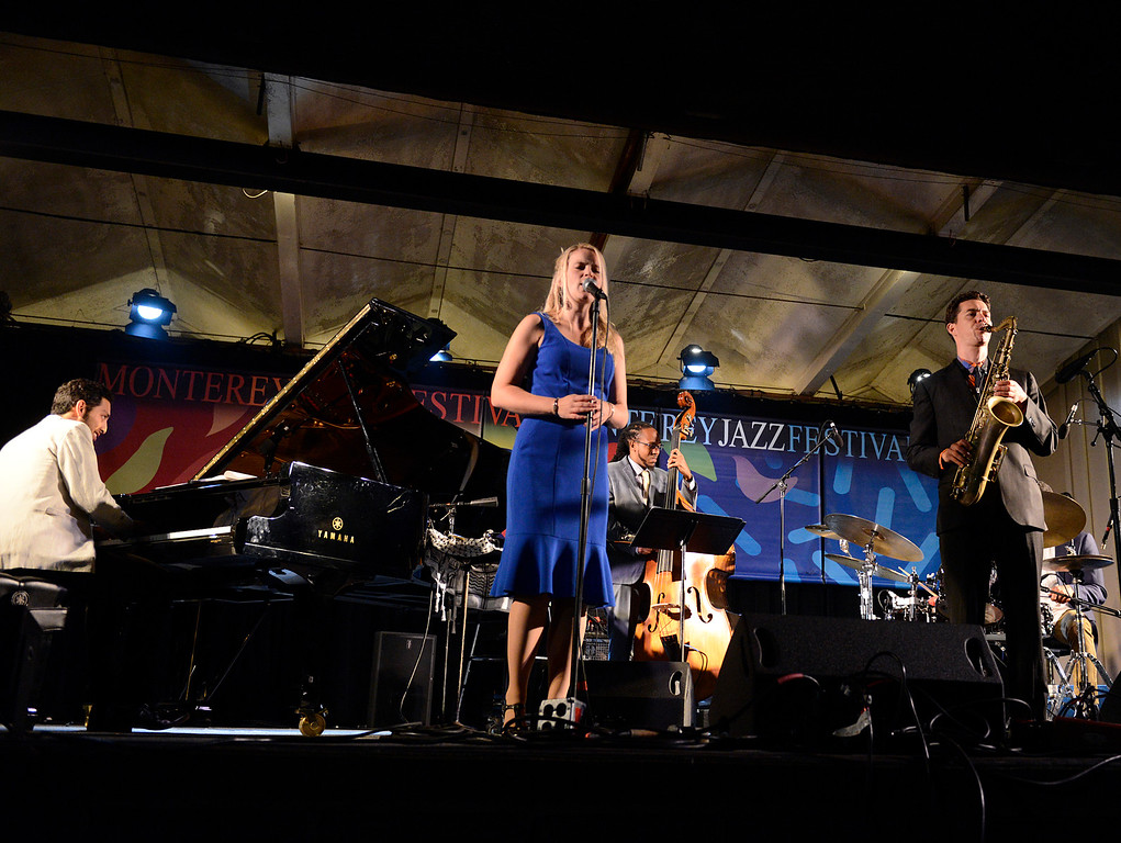. Bria Skonberg, left plays with the Bria Skonberg Quartet on the Garden Stage during the 59th annual Monterey Jazz Festival at the Monterey County Fair and Events Center in Monterey, Calif. on Friday September 16, 2016.  (David Royal - Monterey Herald)