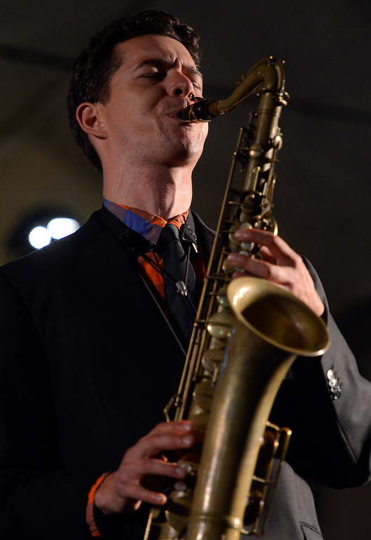 . Evan Arntzen plays saxophone with the Bria Skonberg Quartet on the Garden Stage during the 59th annual Monterey Jazz Festival at the Monterey County Fair and Events Center in Monterey, Calif. on Friday September 16, 2016.  (David Royal - Monterey Herald)