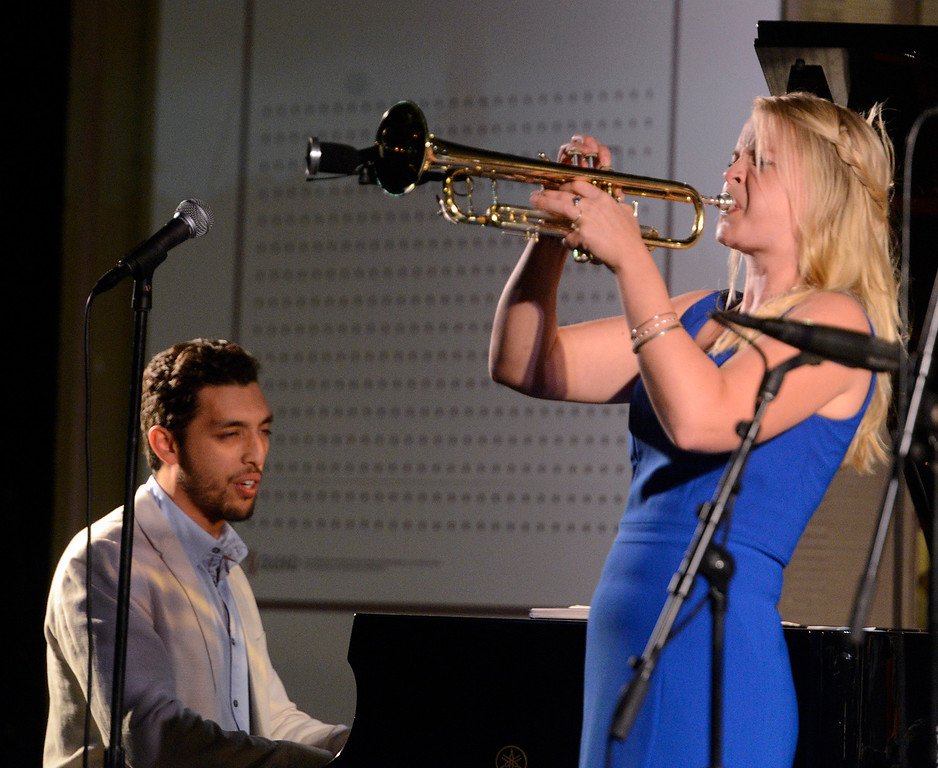 . Bria Skonberg plays trumpet and Mathis Picard plays piano with the Bria Skonberg Quartet play on the Garden Stage during the 59th annual Monterey Jazz Festival at the Monterey County Fair and Events Center in Monterey, Calif. on Friday September 16, 2016.  (David Royal - Monterey Herald)
