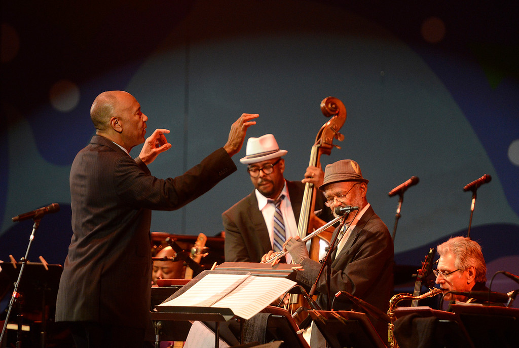 . onductor John Clayton works as bassist Christian McBride and flutist Hubert Laws play during Tribute to Quincy Jones The A&M Years at the 59th annual Monterey Jazz Festival at the Monterey County Fair and Events Center in Monterey, Calif. on Friday September 16, 2016.  (David Royal - Monterey Herald)