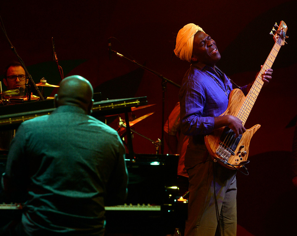 . Richard Bona Mandekan Cubano and his band perform during the 59th annual Monterey Jazz Festival at the Monterey County Fair and Events Center in Monterey, Calif. on Friday September 16, 2016.  (David Royal - Monterey Herald)