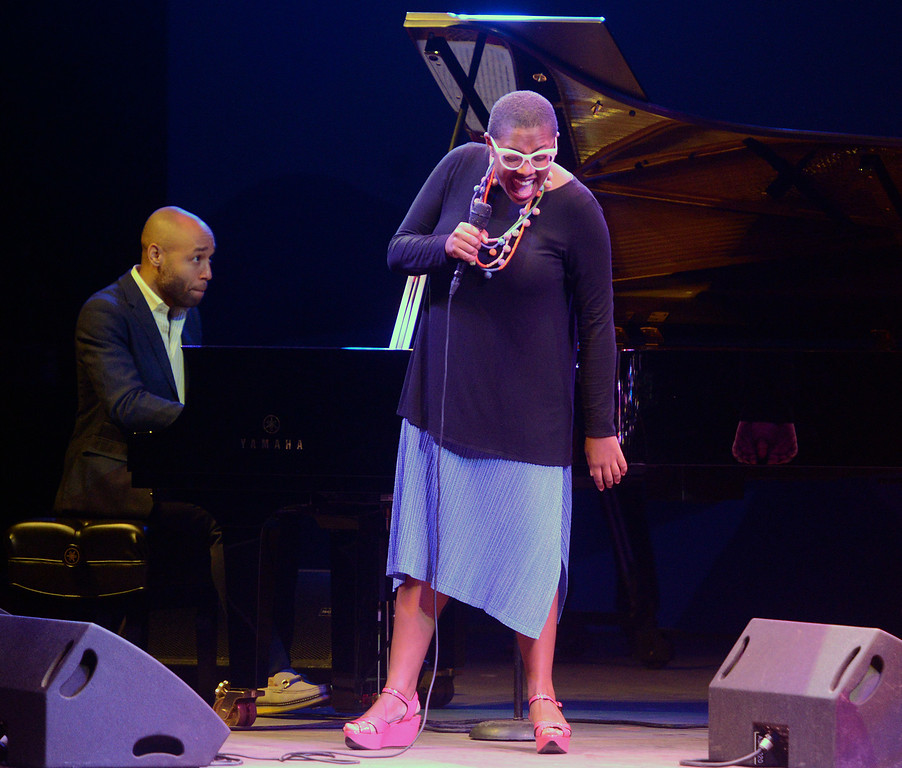 . Cecile McLorin Salvant performs with her band on the Jimmy Lyons Stage during the 59th annual Monterey Jazz Festival at the Monterey County Fair and Events Center in Monterey, Calif. on Friday September 16, 2016.  (David Royal - Monterey Herald)