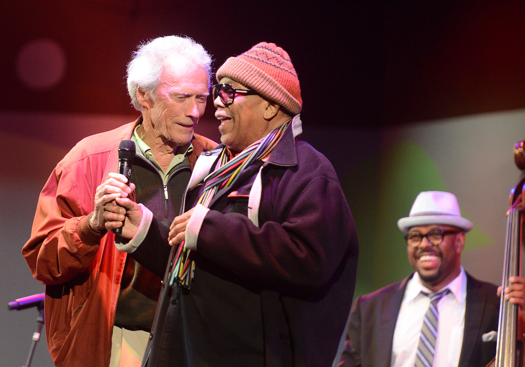 . Clint Eastwood jokes with Quincy Jones as bassist Christian McBride looks on during Tribute to Quincy Jones The A&M Years at the 59th annual Monterey Jazz Festival at the Monterey County Fair and Events Center in Monterey, Calif. on Friday September 16, 2016.  (David Royal - Monterey Herald)