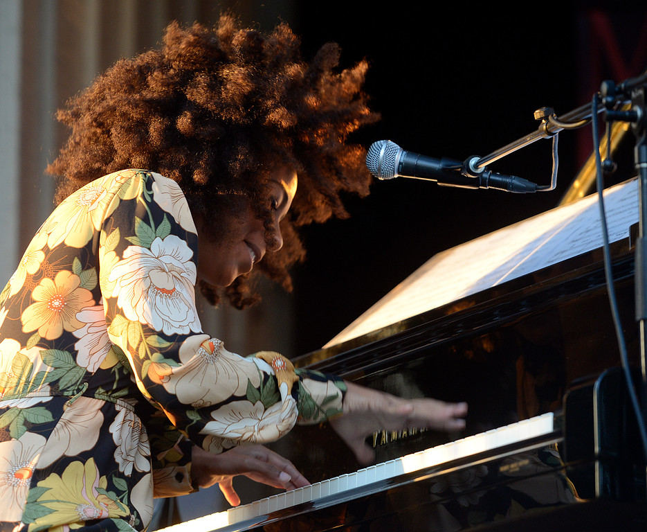 . Zahili Gonzalez Zamora sings and plays piano with the Berklee College of Music group titled Mixcla +1 on the Garden Stage during the 59th annual Monterey Jazz Festival at the Monterey County Fair and Events Center in Monterey, Calif. on Friday September 16, 2016.  (David Royal - Monterey Herald)