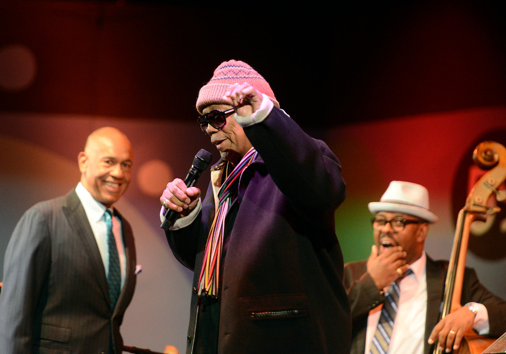 . Quincy Jones speaks as conductor John Clayton and bassist Christian McBride looks on during Tribute to Quincy Jones The A&M Years at the 59th annual Monterey Jazz Festival at the Monterey County Fair and Events Center in Monterey, Calif. on Friday September 16, 2016.  (David Royal - Monterey Herald)