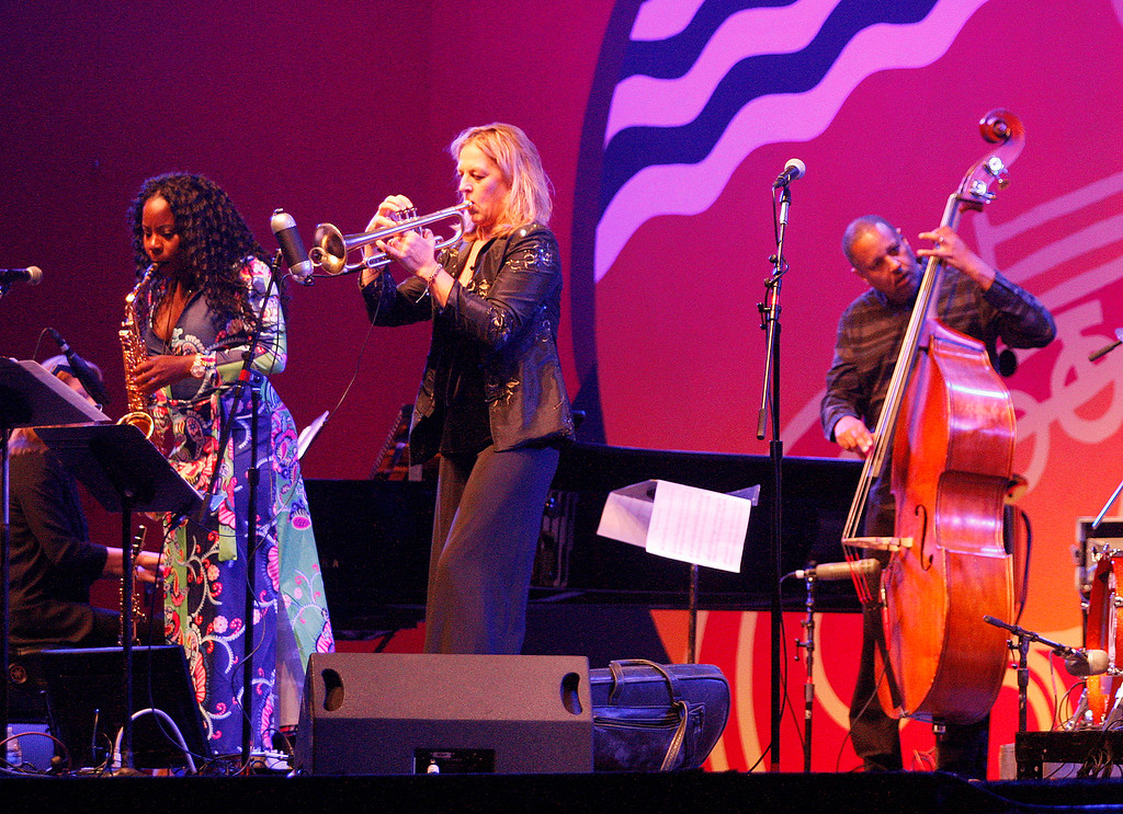 . Tia Fuller and Ingrid Jensen with bass player Robert Hurst present a tribute to Geri Allen on the Jimmy Lyons statge at the Monterey Jazz Festival on Friday, September 21, 2018.  (Vern Fisher - Monterey Herald)