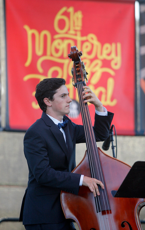 . Bass player Aaron Georis from Monterey plays with the group Blue Clay at the Monterey Jazz Festival on Friday, September 21, 2018.  (Vern Fisher - Monterey Herald)
