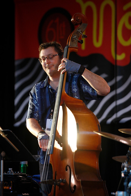 . Bass player Dan Robbins plays the Garden Stage with the Hristo Vitchev Quartet at the Monterey Jazz Festival on Friday, September 21, 2018.  (Vern Fisher - Monterey Herald)