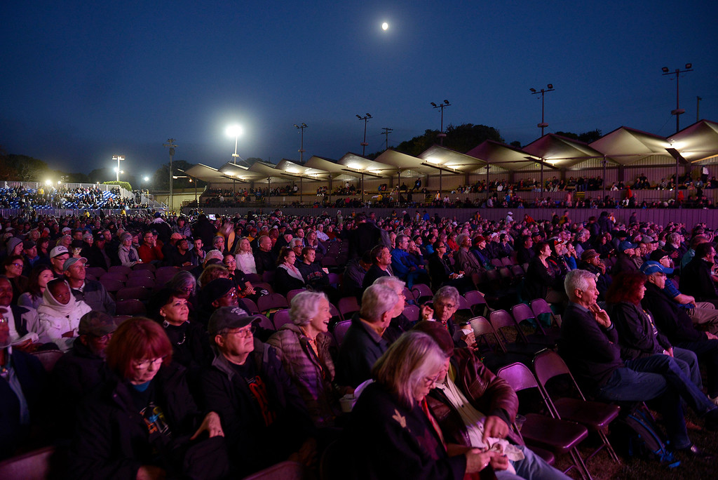 . The moon rises over the main arena as the crowd enjoys Tia Fuller and Ingrid Jensen present a tribute to Geri Allen on the Jimmy Lyons statge at the Monterey Jazz Festival on Friday, September 21, 2018.  (Vern Fisher - Monterey Herald)