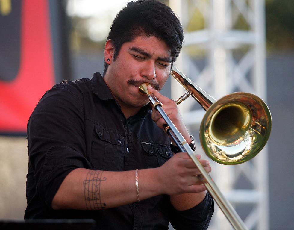 . Trombone player Felix Diaz-Contreras plays with the group Blue Clay at the Monterey Jazz Festival on Friday, September 21, 2018.  (Vern Fisher - Monterey Herald)