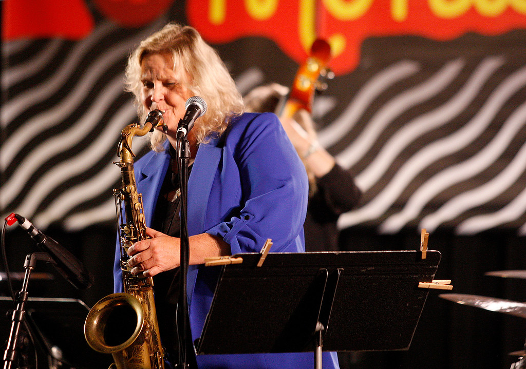 . Saxophone player Kristen Strom with the group Tammy L. Hall Peace-Tet on the Garden Stage at the Monterey Jazz Festival on Friday, September 21, 2018.  (Vern Fisher - Monterey Herald)